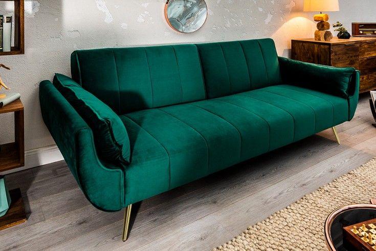 Retro Schlafsofa Divani 215cm Smaragdgrun Samt Goldene Fusse Bettfunktion 3er Sofa Riess Ambiente De Mobelideen Retro Mobel 3er Sofa