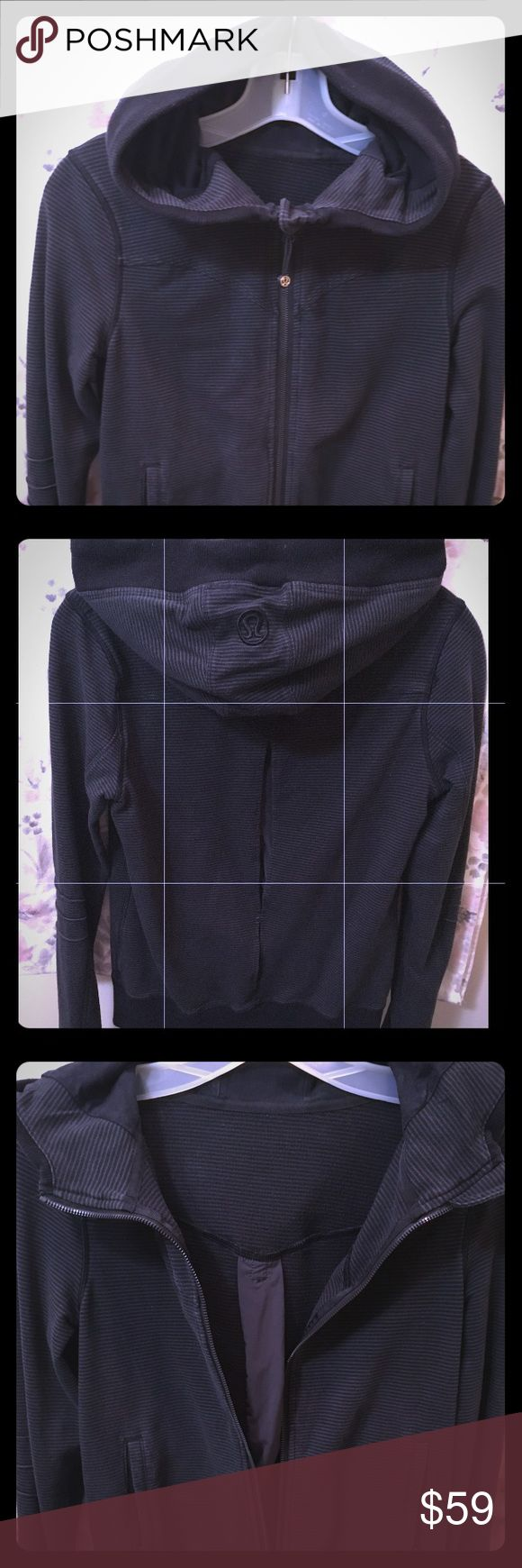 Lululemon Black Wee Striped Zip Up Hooded Jacket 6 Lululemon Black/Gray Wee Striped Zip Up Hooded Jacket w/Thumb Holes & dual material back slit! Size 6. Excellent Condition, No holes, stains or wear! Perfect with Stretch - barely worn! Great Jacket! lululemon athletica Jackets & Coats
