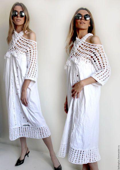 """Vestidos feitos à mão.  Vestido -rubashka no estilo Bohemian """"Bogemiya2"""".  amor Boho.  Online Store Feira Masters.  monocromático"""