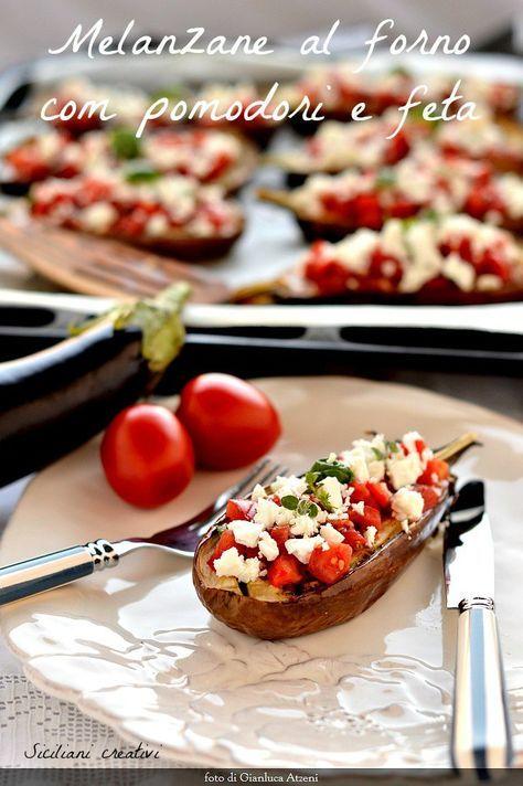 Melanzane al forno con pomodori e feta