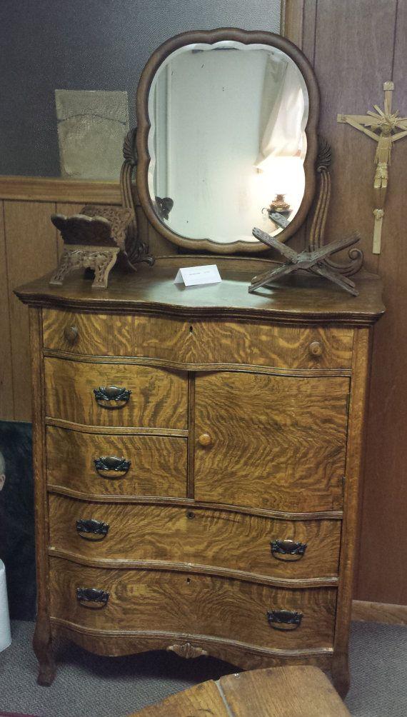 Vintage Oak High Boy Dresser With Mirrow