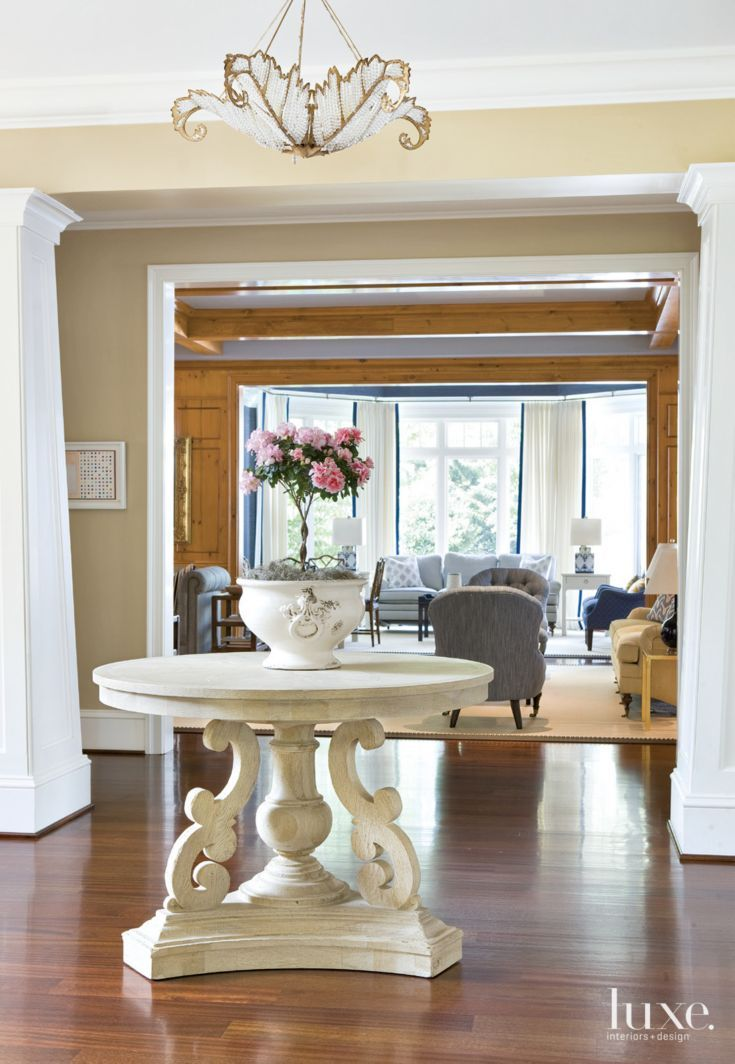 Centre Table Designs For Living Room: Traditional Cream Entry With Center Hall Table