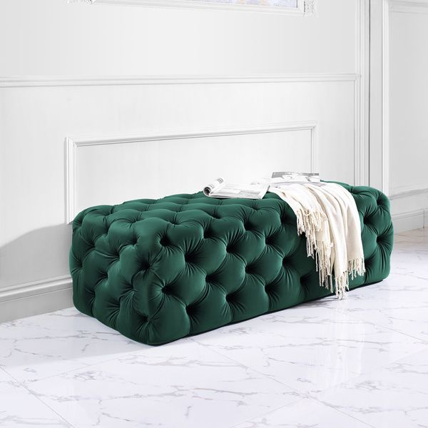 Create drama in your living space with the jumbo Kaylee velvet ottoman. With its…