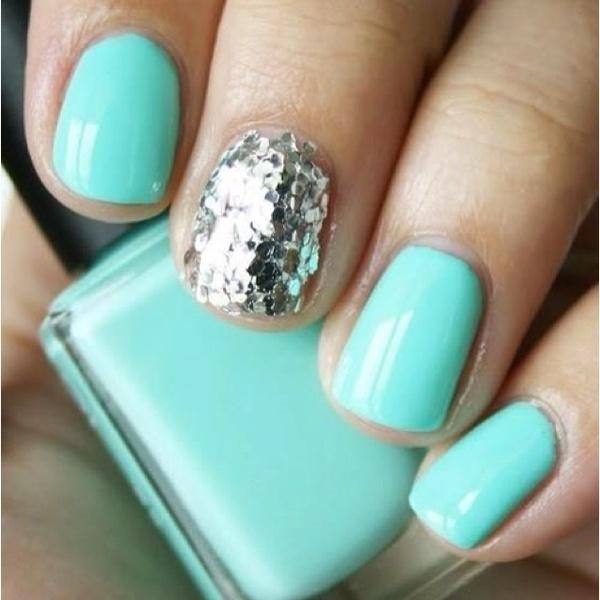 : Nails Art, Mint Nails, Accent Nails, Tiffany Blue, Sparkle Nails, Glitter Nails, Nails Polish, Bluenail, Blue Nails
