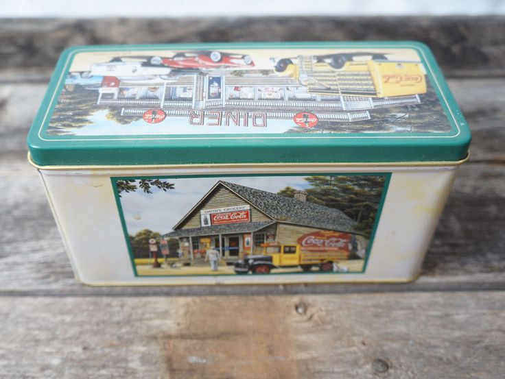 Coca Cola Diner Tin Container 1991 Pamela C. Renfroe Airport Services Smiths Grocery Delicious and Refreshing by MemoryOriginal on Etsy