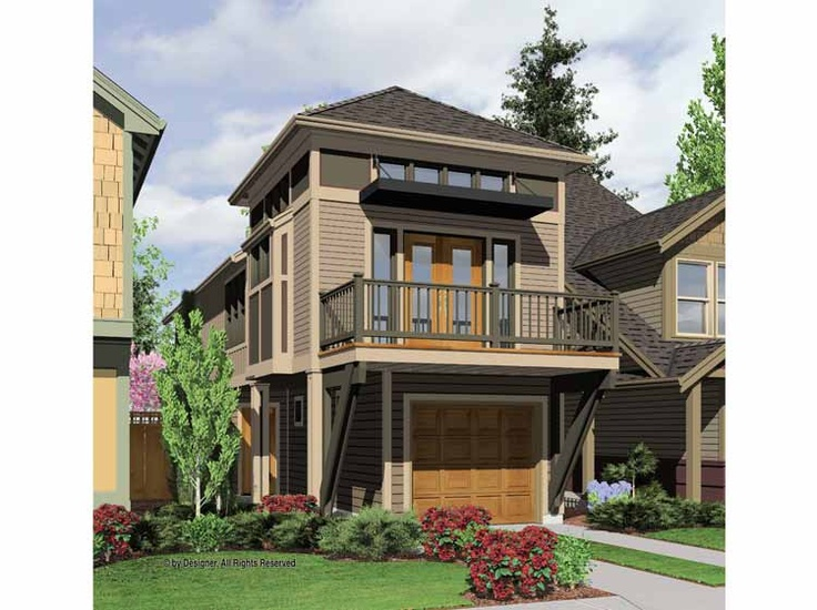 Two story narrow house plan two story shotgun for Narrow home plans with garage