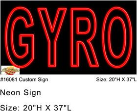 Gyro neon sign can be seen from a distance to advertise your Greek sandwiches. While you meat is roasting on the tall vertical spit, this red neon sign will be bringing in customers. Be ready to serve up your Greek Gyros with pita and salad.