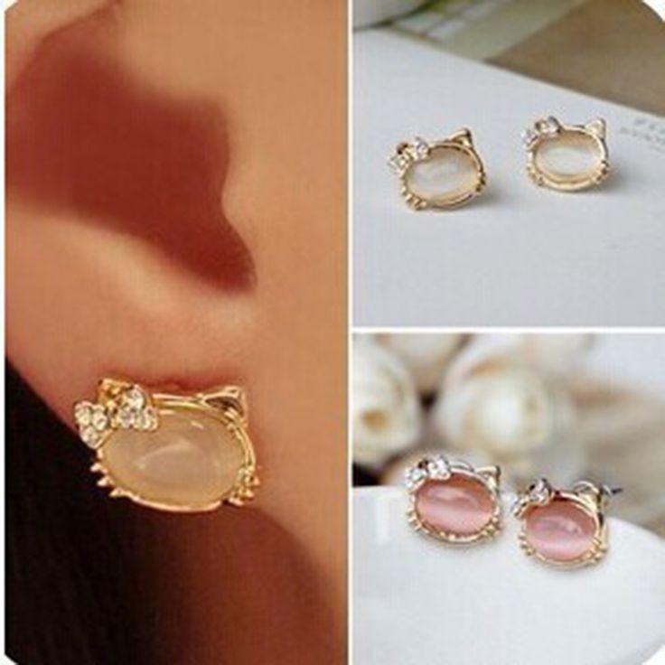 Earrings For Women Trendy Hello Kitty Jewelry With Crystal Bowknot Opal Cute Cat Stud Earring Female Cat Jewelry Ear Studs
