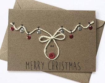 Reindeer christmas card | personalised christmas card, cute christmas card, Rudolph christmas card, hanging baubles, Rudolph the reindeer