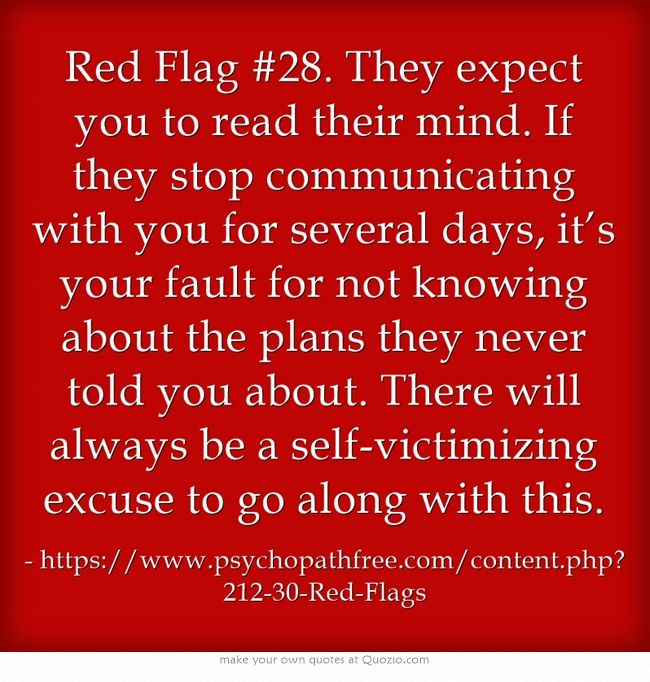Red Flag #28. They expect you to read their mind.  Narcissistic abuse recovery