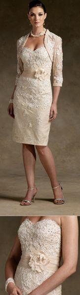 Elegant Knee Length / Short Lace Mother of The Bride Evening Dresses Wedding Guest Dresses