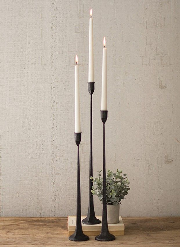 Cast Iron Taper Candle Holder Collection Set Of 3 In 2020 Tall Candle Holders Tall Black Candle Holders Taper Candle
