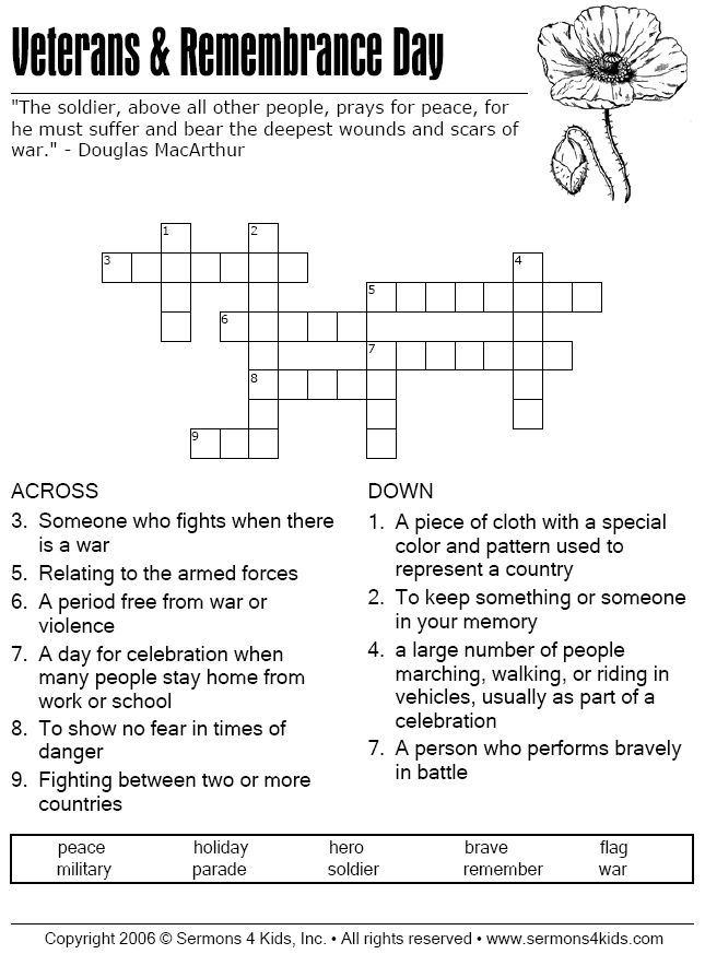Veterans+Day+Poems | Veterans Day & Remembrance Day - Crossword Puzzle