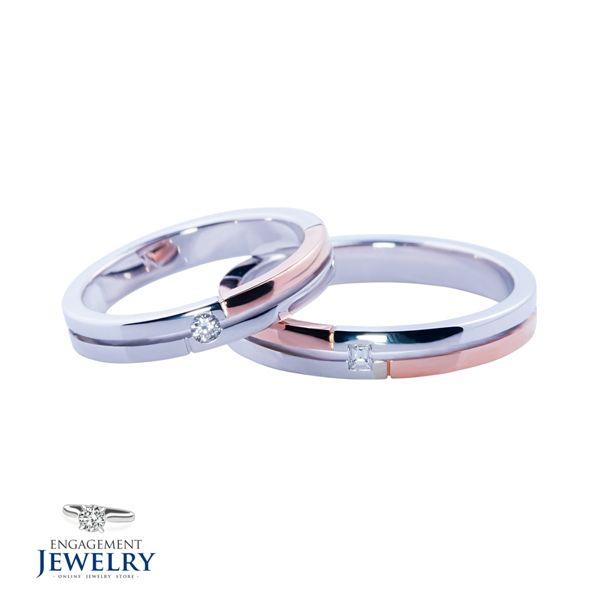 Set verighete cu diamant PAL-VEG-002  Set verighete cu Diamant(6.10g 5.00g)