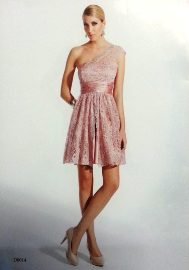 Vestido de fiesta corto asimétrico rosa palo modelo D0014