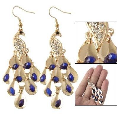 : Rosallini 1 Pair Dark Blue Beads Dangle Peacock Rhinestone Earrings