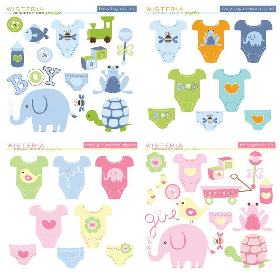 Baby Boy & Baby Girl Design Set - Clip Art for Personal and Commercial Use - Digital Designs