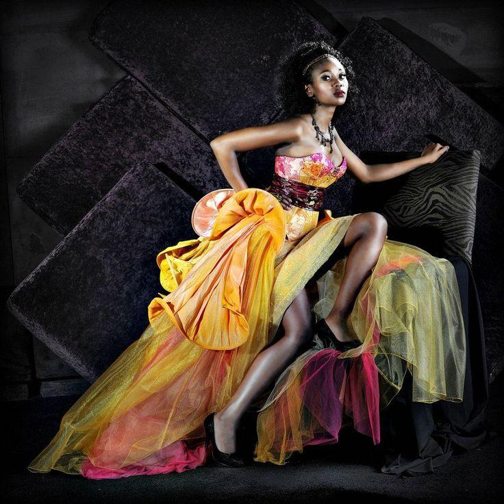 Designer: Yvette van den Berg for Yvi Berg;  Photographer: Chris Coetzee; Model: Naomi Bogopa; Avant Garde; Couture; Tulip; Japanese inspired; Evening Gown; African Model; Queen; Majestic; Dramatic; Yellow; Amber; Pink; Orange; Matric dance 2015; South African; Fashion Design