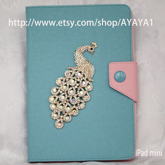 iPad mini Case, iPad mini Cover ,iPad,bule case with Color peacock    ,mini iPad case,case for mini iPad ,ersonalized Cover on Etsy, $29.99