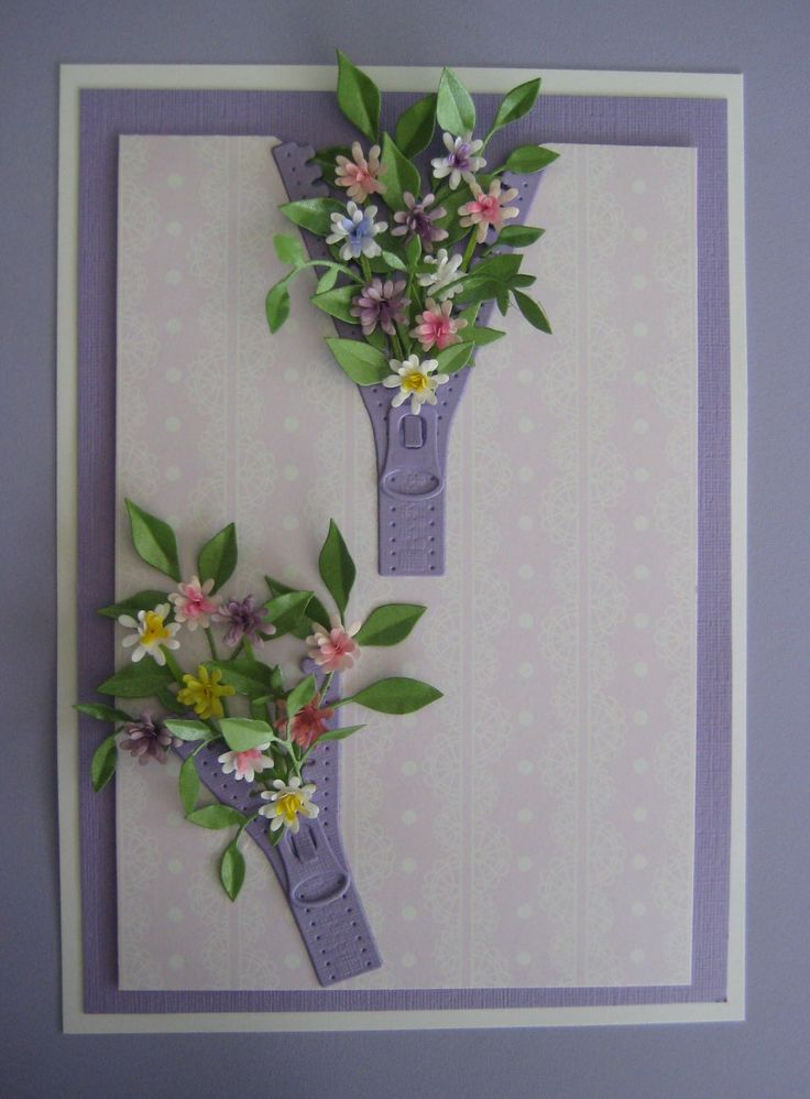 Zipper Card.  Dies used: Zipper Marianne Craftables Die CR1260 Impression Obsession Spiral Flowers Memory Box Fresh Foliage