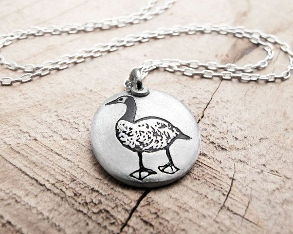 Little Canada Goose necklace - silver goose jewerly on Etsy, $38.00