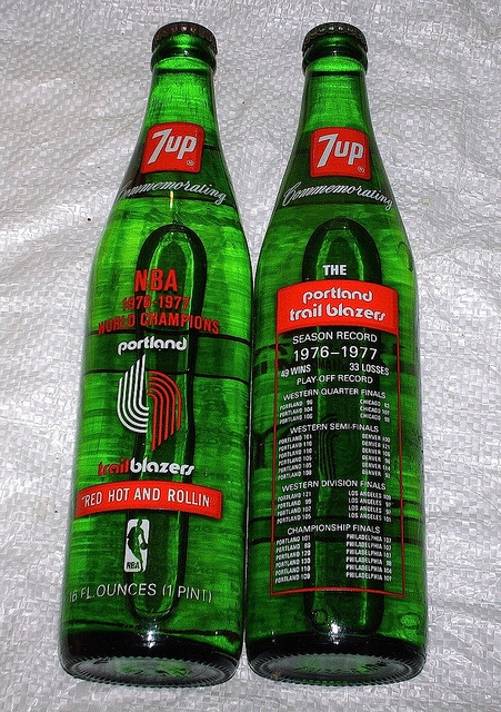 Portland Trailblazers championship 7up bottles.