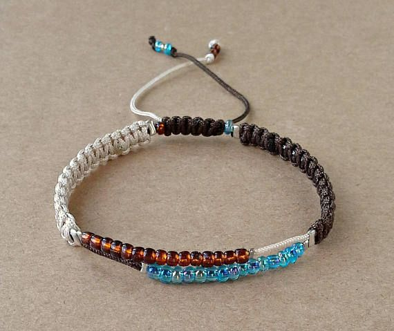 Seed Bead Bracelet, Macrame Bracelet, Dainty Jewelry, Gift For Her, Sliding knot, Brown and Blue Beads, Satin Cords, Women Gift, Adjustable