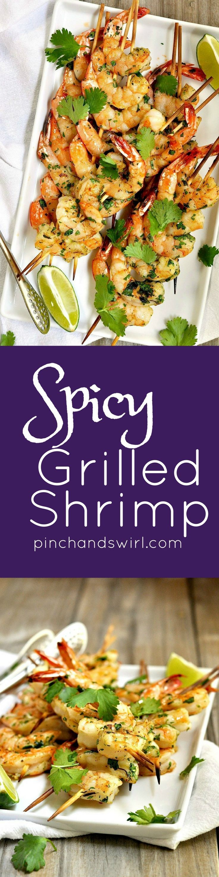 Spicy grilled shrimp are easy to assemble and cook in about 5 minutes. A simple marinade of cilantro with a kick of cayenne pepper make these a delicious and spicy-as-you-like addition to summer meals. String the shrimp onto two skewers to them very easy to turn on the grill.