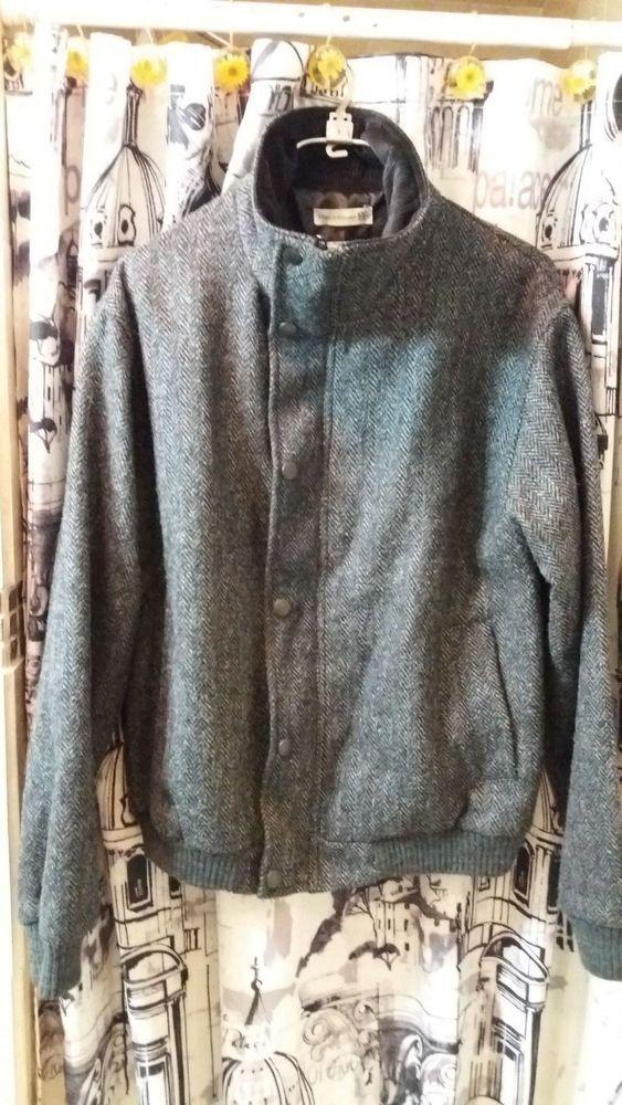 1f07213e4922 Authentic Peregrine Harris Tweed Men s full zip wool jacket US L ...