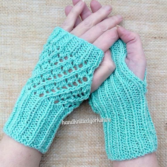 Hand Knitted Ladies Gloves Peppermint by HandKnittedYorkshire