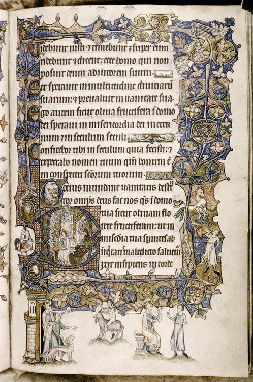 A close view of folio 72r of The Ormesby Psalter.  I can try and make a mosaic of both pages together - 72v & 72r. Made in Norwich, East Anglia, England around 1300-1310. MS Douce 366; Images from the Bodleian Library