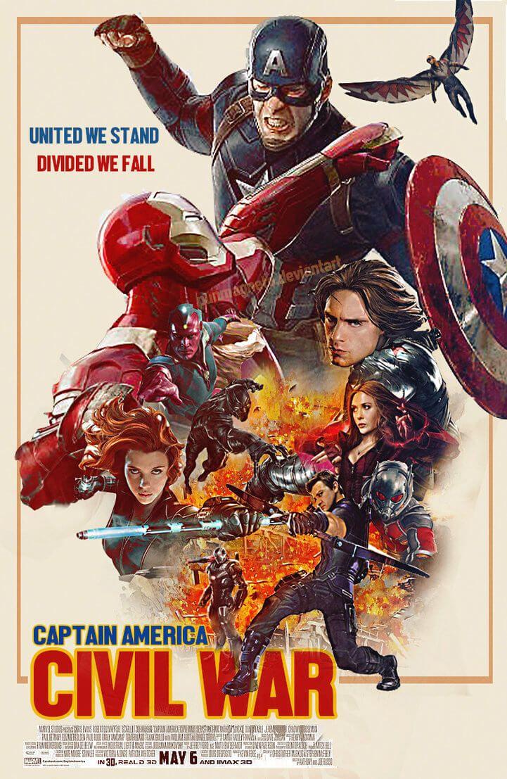 Artista cria incrível pôster retrô de Capitão América: Guerra Civil | SuperVault