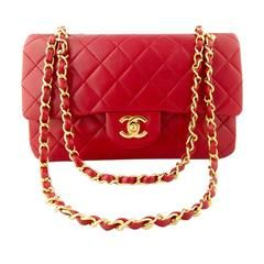 1989 Chanel Red Medium Flap bag