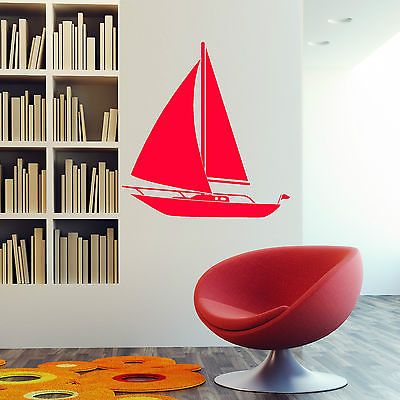 YACHT SAILING BOAT Nautical Marine Vinyl wall art sticker decal   Wall Decals & Stickers   Home Decor - Zeppy.io