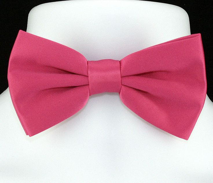 Pre tied bow tie - Solid in sparkling salmon pink plain weave Notch zde6rjOzz4