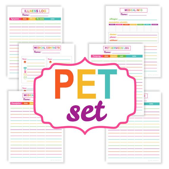 Printable Pet Organizer Set Printable By PeachAndMint On
