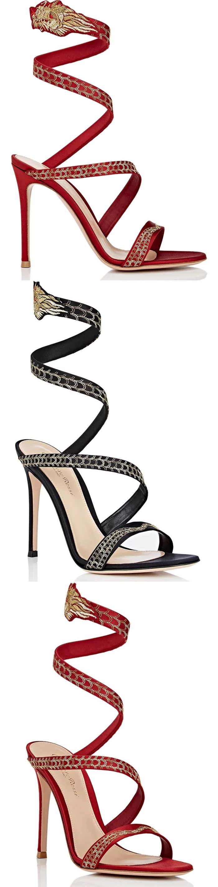 Gianvito Rossi's Dragon sandals are crafted of lustrous satin and styled with a wraparound spiral ankle strap. Made in Italy, these elegant shoes are artfully embroidered with a gold and red dragon.