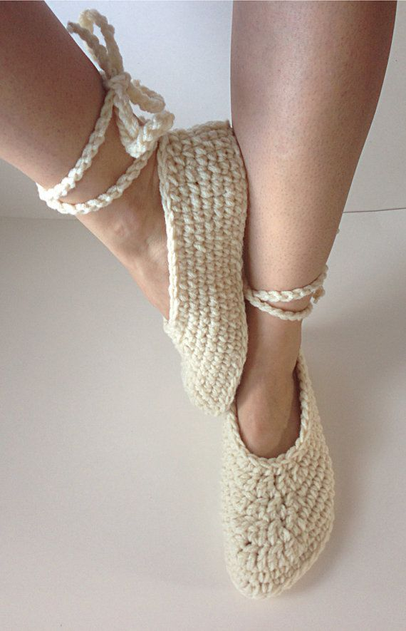 Womens Crochet Cream Ballet Slippers Lace Up By Starduststyle