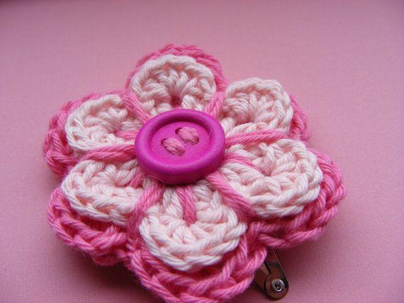 Mädchen Haar Clip häkeln Knopf Blume X 1 einzelne von Bbabscrochet