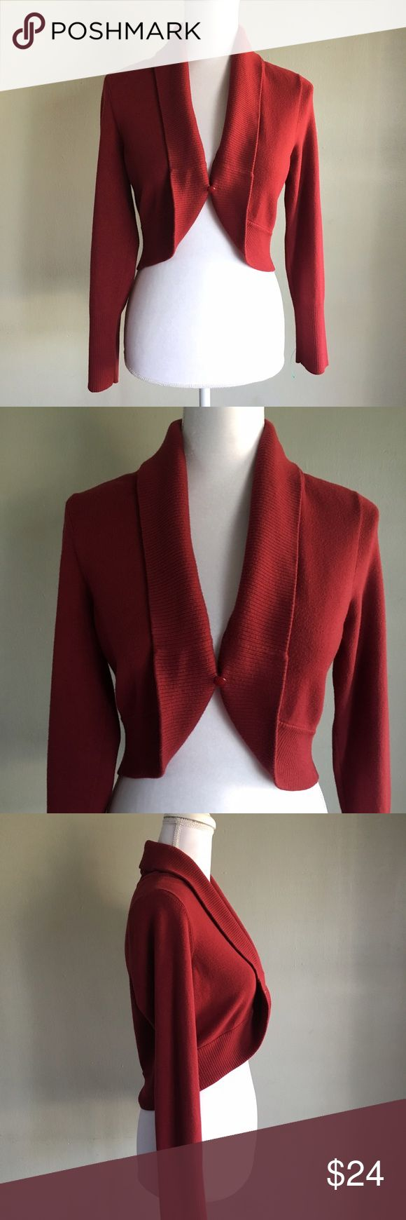 Ann Taylor Red burgundy shrug sweater large Beautiful red burgundy shrug with front button closure from Ann Taylor loft  size large Ann Taylor Sweaters Shrugs & Ponchos