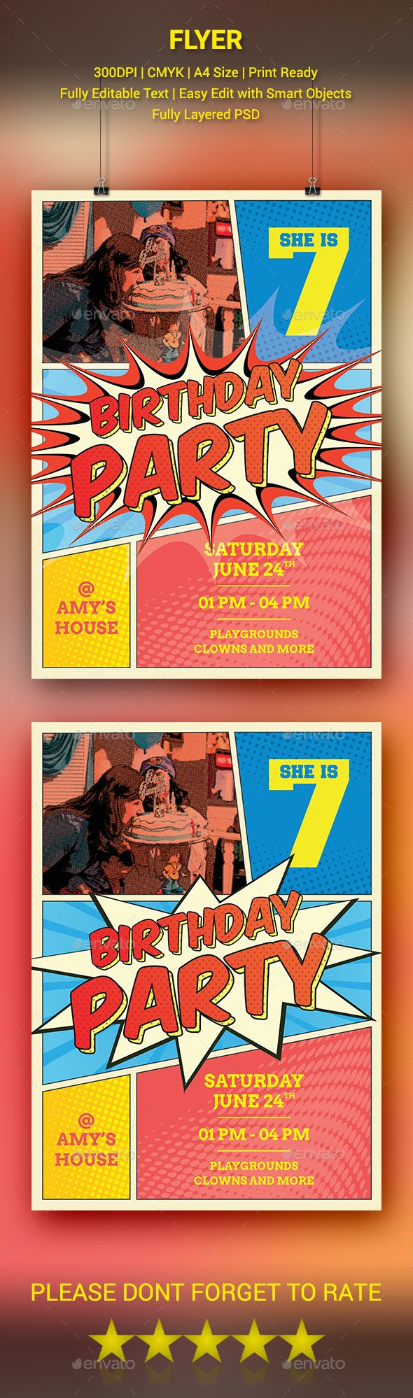 Comic Style Birthday Flyer - Clubs & Parties Events Download here: https://graphicriver.net/item/comic-style-birthday-flyer/20034379?ref=classicdesignp