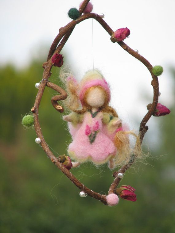 Needle felted Waldorf inspired Little Rose fairy Mobile