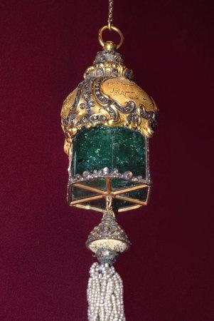 Giant emerald pendant from the Ottoman Empire Treasury - Topkapi Palace Museum - Istanbul, Turkey