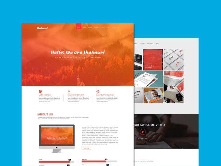 Jhalmuri : Free Single Page Portfolio PSD Template