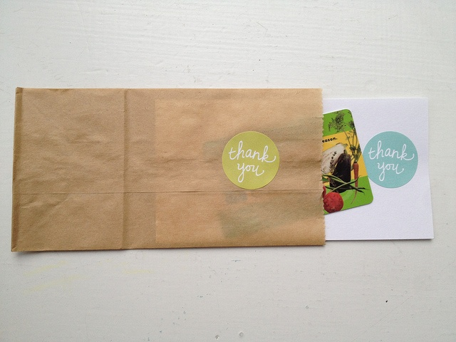 DIY notecard idea: small brown paper bags with stamped matching card stock notecards. For a thank you or birthday gigt, add a gift card inside
