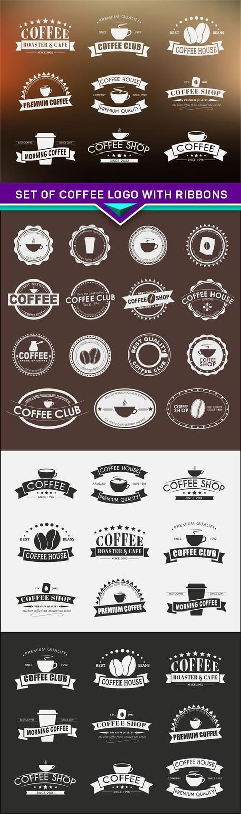 Set of coffee logo with ribbons 4X EPS