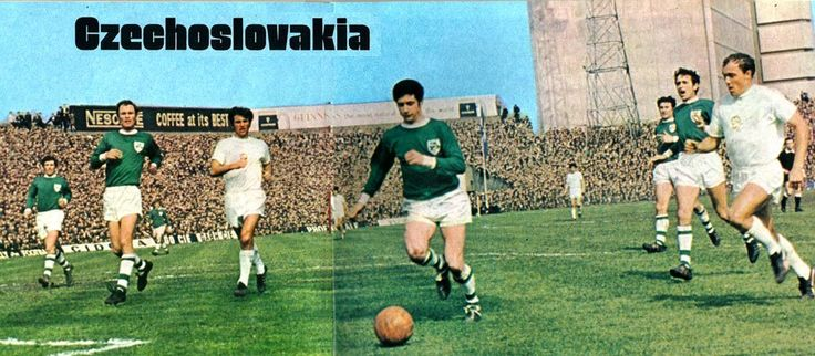 Czechoslovakia playing a World Cup qualifier vs the Republic of Ireland at Dalymount Park, 1969