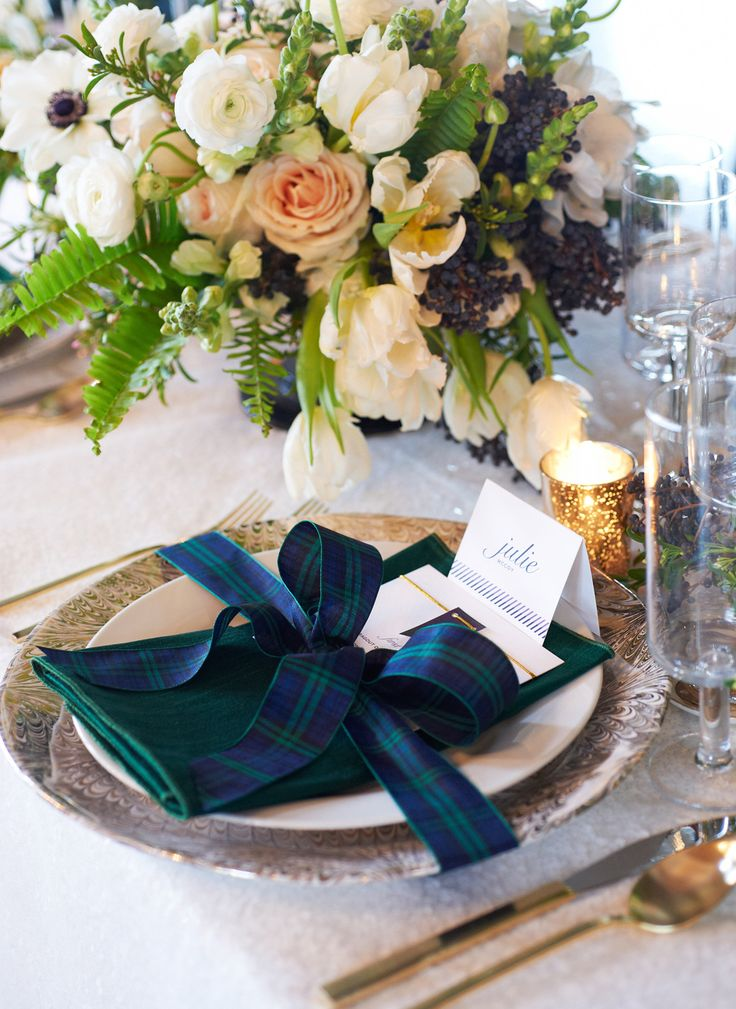 Place Settings -- Tartan influence -- See the full feature on Style Me Pretty: http://www.StyleMePretty.com/tri-state-weddings/2014/03/17/tartan-and-tulle-inspiration-shoot/ Photography: Charlotte Jenks Lewis