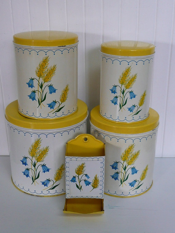 RARE Vintage Canister Set Colorware NC Tin by NewLIfeVintageRVs, $55.00