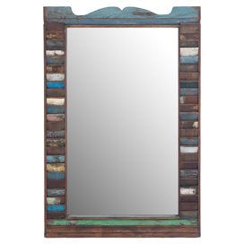 """Distressed wood wall mirror.  Product: Wall mirrorConstruction Material: Wood and mirrored glassColor: MultiFeatures: Distressed lookDimensions: 48"""" H x 33"""" W"""